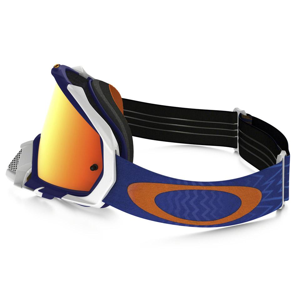 Oakley - Mayhem Pro Shockwave очки сине-белые, линза зеркальная оранжевая