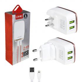 Зарядное устройство (2USB) 2,4A + кабель для iphone