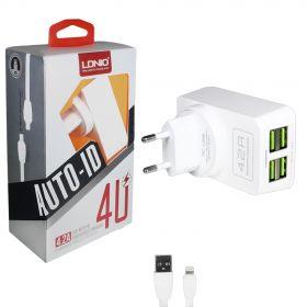 Зарядное устройство (4USB) 4,2A + кабель для iphone