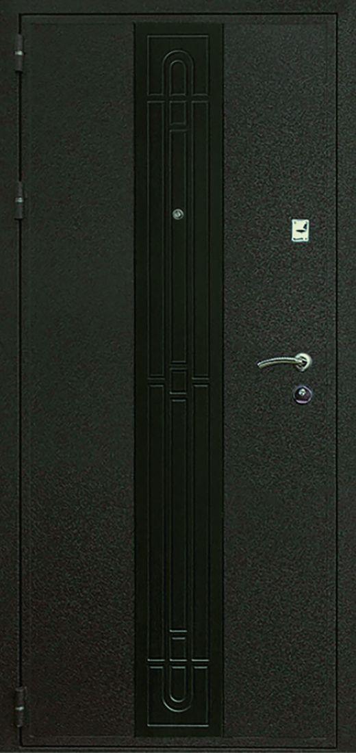 Металлическая входная дверь Рим Черный крокодил с вставкой МДФ Венге