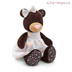 Медведь Milk сидячая в платье с вышивкой, арт. М5040/30