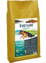 Estrudo Atlantica (Белая рыба) для взрослых собак крупных пород склонных к аллергии, 13 кг