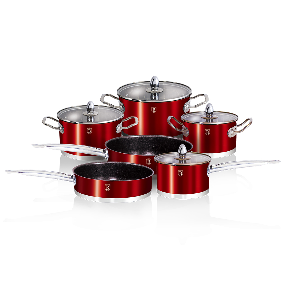 Набор посуды 10пр Berlinger Haus ВН-1321 Metallic red Passion Collection