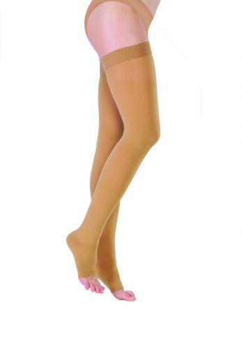 Чулки ИНТЕКС с гладкой силиконовой резинкой и открытым носком (2 класс компрессии)