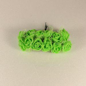 `Цветы из фоамирана с органзой, 25 мм, 11-12 цветков, цвет: зеленый