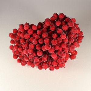 Ягоды в сахарной обсыпке 12 мм (длина 16см),цвет - красный. 1 уп = 400 ягодок