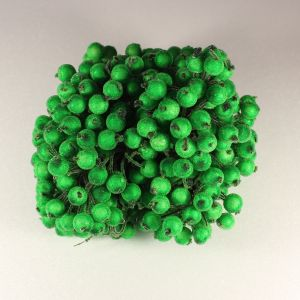 Ягоды в сахарной обсыпке 12 мм (длина 16см), цвет - зеленый. 1 уп = 400 ягодок