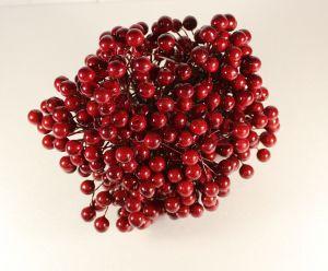 Ягоды 10 мм (длина 16см), цвет темно-красный, 1 уп = 400 ягодок