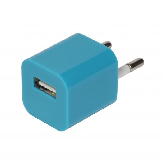Вилка USB квадрат голубой (1000 mA, 5V)