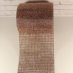 "Лента декоративная ""имитация страз"", ширина 12 см, длина 10 ярдов, цвет: 59 шампань"