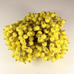 `Ягоды в сахарной обсыпке 12 мм (длина 16см), цвет-желтый. 1 уп = 40 ягодок ( 20 веточек)