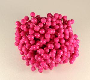 `Ягоды 10 мм (длина 16см), цвет ярко-розовый, 1 уп = 40 ягодок ( 20 веточек)