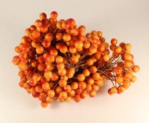 `Ягоды 10 мм (длина 16см), цвет - оранжево-красный. 1 веточка=2 ягодки