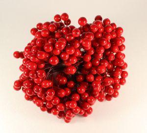 `Ягоды 10 мм (длина 16см), цвет - красный. 1 веточка=2 ягодки