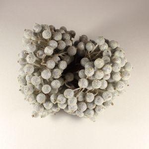`Ягоды в сахарной обсыпке 12 мм (длина 16см), цвет - серебро. 1 веточка=2 ягодки