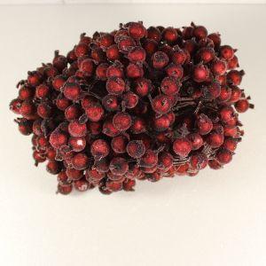 `Ягоды в сахарной обсыпке 12 мм (длина 16см), цвет бордовый, 1 веточка=2 ягодки