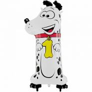 "Шар (40''/102 см) ""Цифра 1. Собака"", в упаковке, 1 шт.  (арт. 16480)"