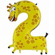 """Шар (40''/102 см) """"Цифра 2. Жираф"""", в упаковке, 1 шт. (арт. 16481)"""