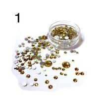 Стразы в баночке разноразмерные №1 золото, 150 шт
