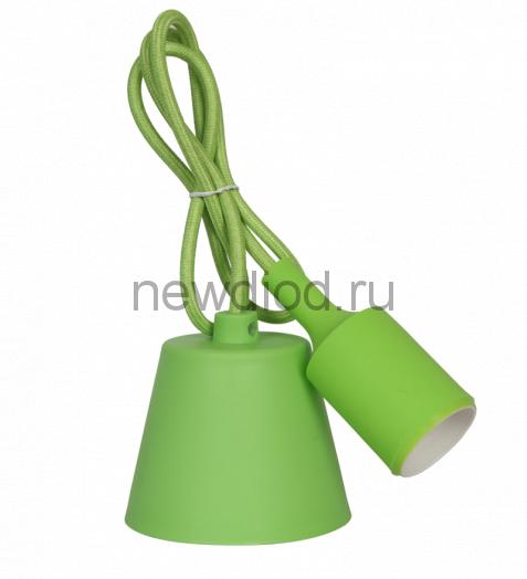 Патрон Е27 силиконовый со шнуром 1м зеленый IN HOME