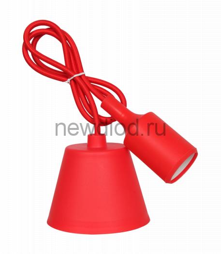 Патрон Е27 силиконовый со шнуром 1м красный IN HOME