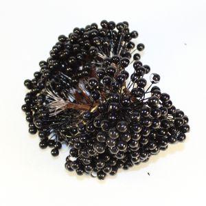 `Ягоды 8 мм (длина 16 см), цвет черный, 1 веточка=2 ягодки