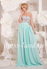 Бирюзовое платье в пол, расшитое пайетками