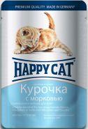 Happy Cat Курочка с морковью для котят, кусочки в соусе (пауч 100 г)