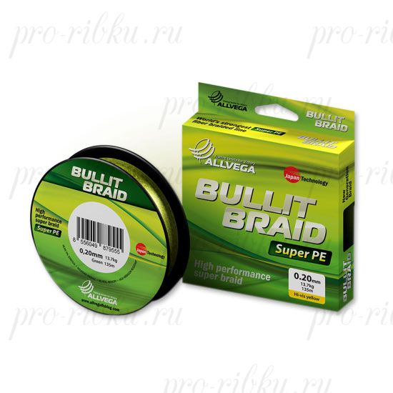 Плетеный шнур Allvega Bullit Braid 135M Hi-Vis Yellow 0,16mm