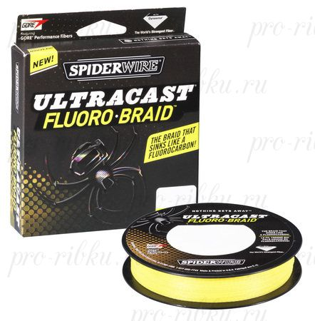 Плетеный шнур Spiderwire Ultracast Fluorobraid Yellow 270m 0,10mm 6,119kg