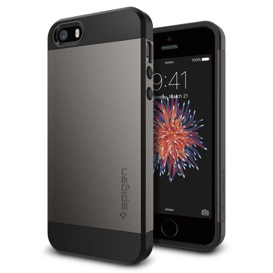 Чехол Spigen Slim Armor для iPhone 5/5s/SE темный металлик