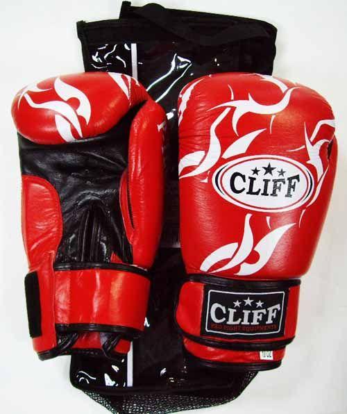 Перчатки боксерские CLIFF, липучка,  P.TECH, кожа, 8 унц., красные