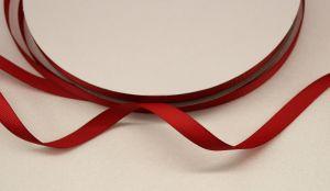 Лента репсовая однотонная 09 мм, длина 25 ярдов, цвет: бордовый