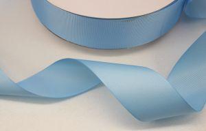 Лента репсовая однотонная 38 мм, длина 25 ярдов, цвет: светло-голубой