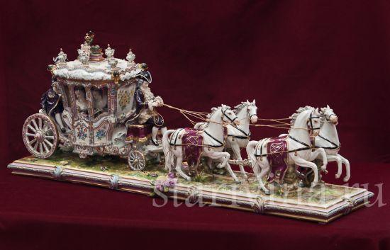 Изображение Карета с четверкой лошадей, Volkstedt, Германия, сер. 20 в