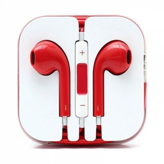Наушники вакуумные - гарнитура Apple Iphone (красный)