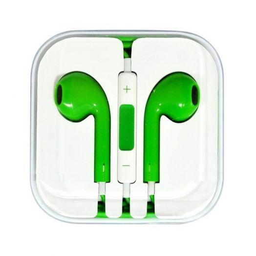 Наушники вакуумные - гарнитура Apple (зеленый)