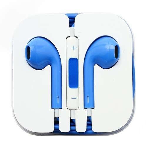 Наушники вакуумные - гарнитура Apple (синий)