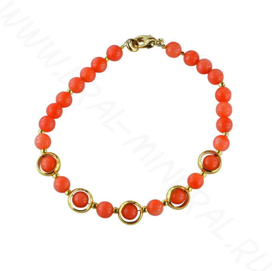 Браслет из коралла оранжевого