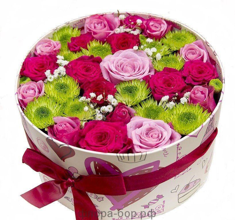 """Цветы в коробке """"Розовое облако"""""""