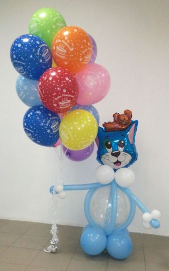 Фонтан из 15 шаров с котом