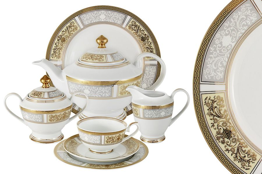 """Чайный сервиз на 12 персон """"Августина"""", 42 пр."""