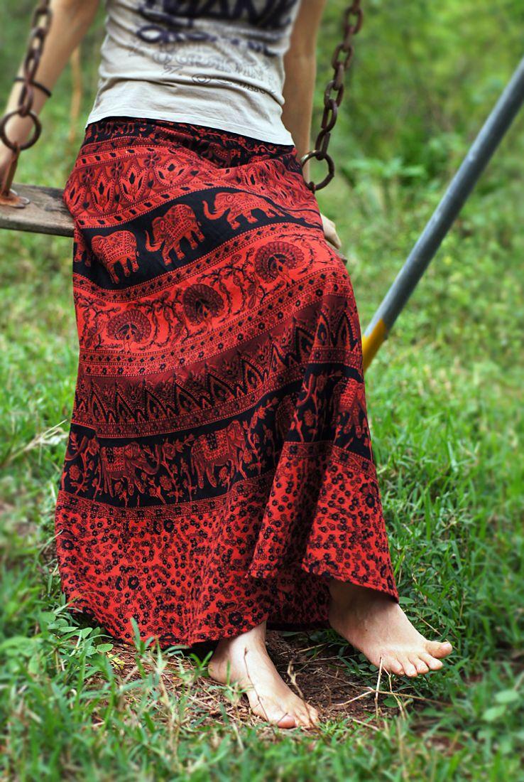 Черно-красная юбка с запахом, длинная, в пол (Москва)