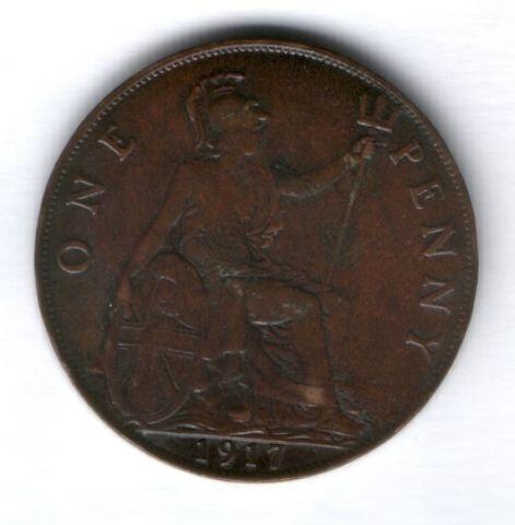 1 пенни 1917 г. Великобритания