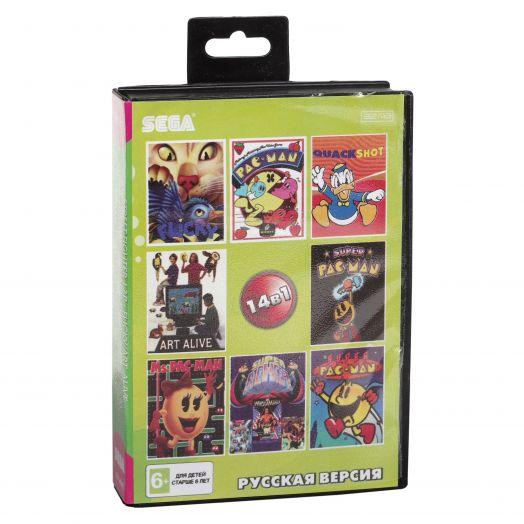 Sega картридж 14в1 (SK-14001) URBAN  FIGHTER/ MS  PACMAN/QUACK  SHOT/PAC  MAN+..