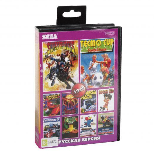 Sega картридж 19в1 (KC1901) WORLD CUP/ FIFA98/ MONAGO GP/3D TETRIS+..