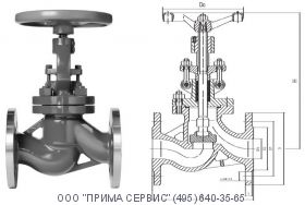 Клапан запорный 15нж65нж Ду100 Ру16