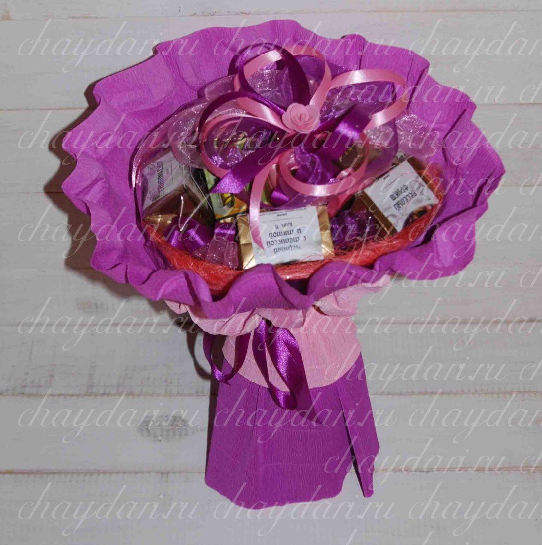 """Букет из чая """"Фиолетовая роза"""""""