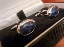 стильные английские запонки с содалитом в форме овала OVAL CABOCHON SODALITE BLUE