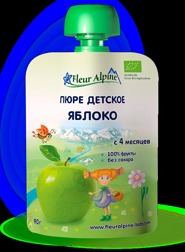 Флёр Альпин - пюре Органик яблоко (пауч), 4 мес., 90 г.